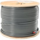 1000' Gray Mini 8 Coax  16 Gauge Bare Copper Conductor  95% Bare Copper Braid